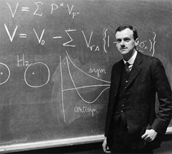 A young Dirac in front of the blackboard